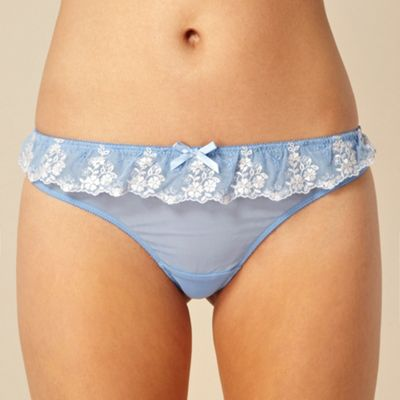 Blue lace frill thong