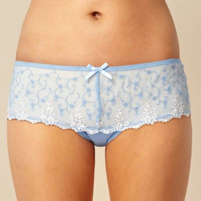 Pale blue embroidered hipster briefs