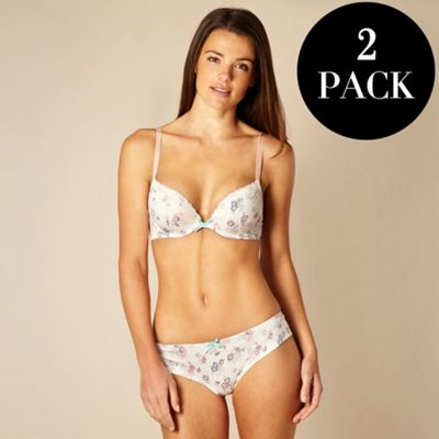 Pack of two patterned microfibre plunge bras