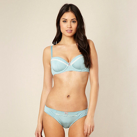 Presence - Light blue polka dot trimmed balcony bra
