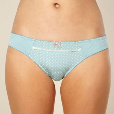 Light blue polka dot trimmed hipster briefs
