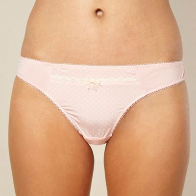 Light pink polka dot trimmed thong