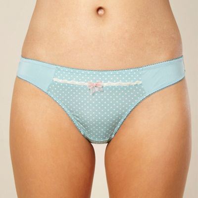 Light blue polka dot trimmed thong