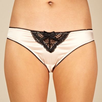 Designer natural lace trimmed satin hipster briefs