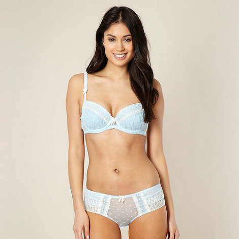 Reger by Janet Reger - Designer pale blue embroidered balcony bra