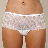 White deep lace thong