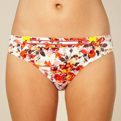 Dark pink floral satin hipster briefs
