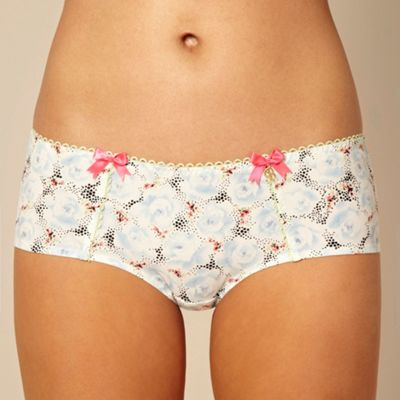 Designer blue rose printed shorts