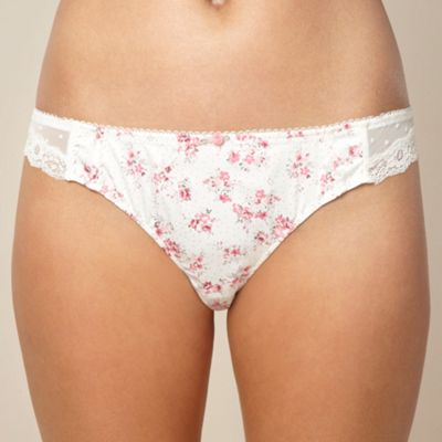 Pink floral printed brazilian briefs
