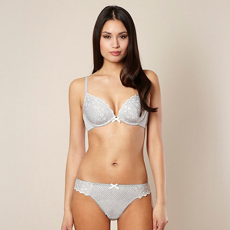 Presence - Grey embroidered microfibre plunge bra