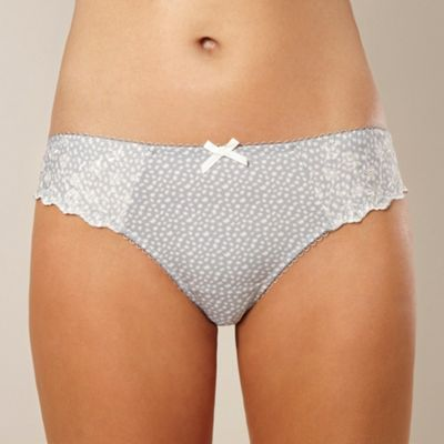 Grey embroidered microfibre hipster briefs