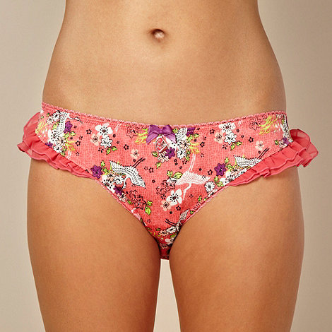 Floozie by Frost French - Designer pink crane floral hipster briefs