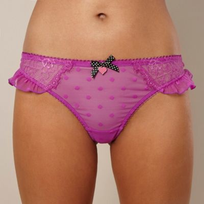 Purple spotted lace thong