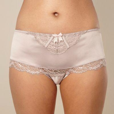 Designer taupe lace overlay shorts