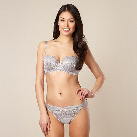 Reger by Janet Reger - Designer grey embroidered balcony bra