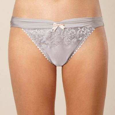 Grey floral embroidered thong