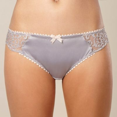 Grey floral embroidered hipster briefs
