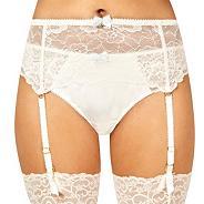 Designer ivory bridal suspender belt