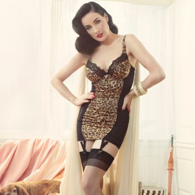 Animal printed satin fitted chemise