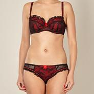 Red lace balcony bra