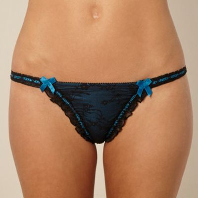 Dark blue stretch lace g-string