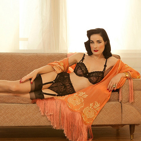Von Follies by Dita Von Teese - Black lace & fishnet bra