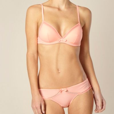 Peach moulded triangle cup bra