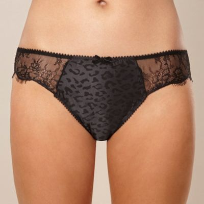 Black leopard jacquard satin briefs