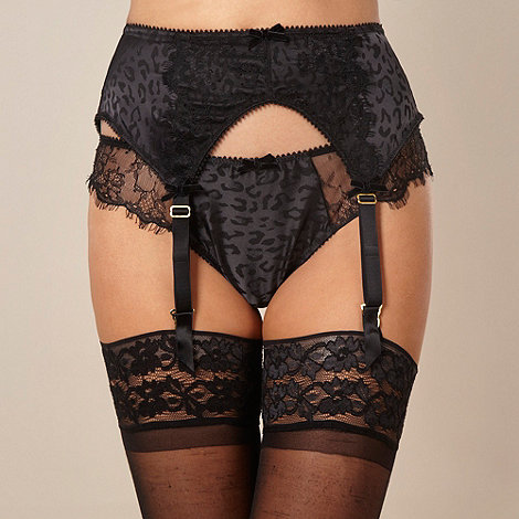 Von Follies by Dita Von Teese - Black leopard jacquard satin suspender belt