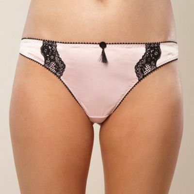 Pale pink lace and satin thong