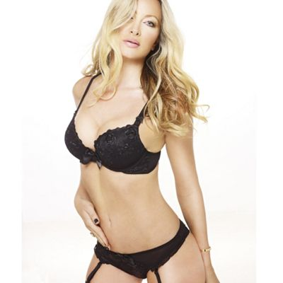 Black lace trim plunge bra
