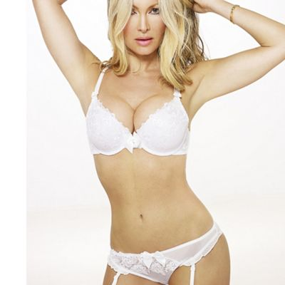 White lace trim plunge bra