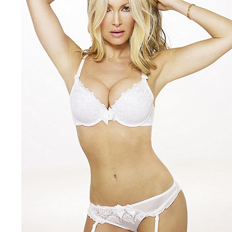 by Caprice - White lace trim E-G Cup plunge bra