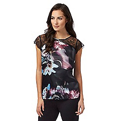 B by Ted Baker - Black 'Ethereal Posey' floral print lace sleeve pyjama top