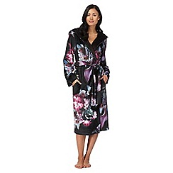 B by Ted Baker - Black 'Ethereal Posey' floral print hooded dressing gown