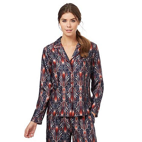 Nine by Savannah Miller - Navy blue paisley print pyjama shirt