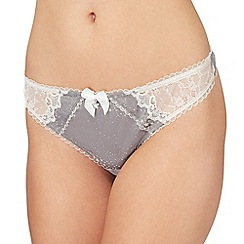 Floozie by Frost French - Dark grey star print lace thong
