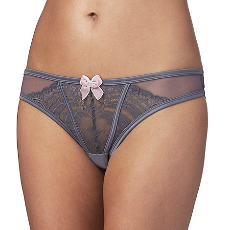 Reger by Janet Reger - Grey lace Brazilian knickers
