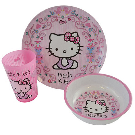 Hello Kitty - Wooland melamine 3 Piece dinnerware set