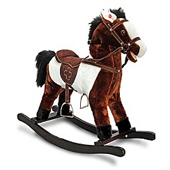 Keel - 46cm Rocking Horse With Motion & Sound-White & Brown
