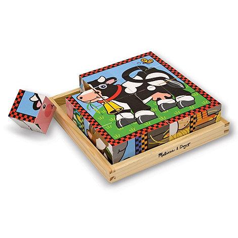 Melissa & Doug - Farm wooden cube puzzle