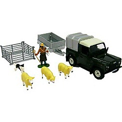 Britains Farm - Red Land Rover & Sheep Trailer Set