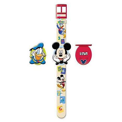 Disney - Mickey Mouse Interchangeable Head Flip-Top LCD Watch