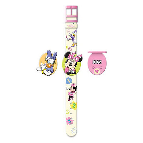 Disney - Minnie Mouse Interchangeable Head Flip-Top LCD Watch