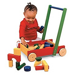 Pintoy - Wooden baby walker with 24 blocks