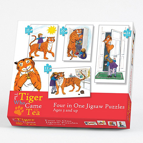 Paul Lamond Games - The Tiger who came to Tea 4 in 1 jigsaw puzzles