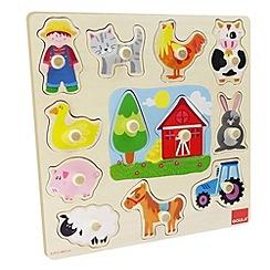 Jumbo - Farm sillouhette wooden peg puzzle