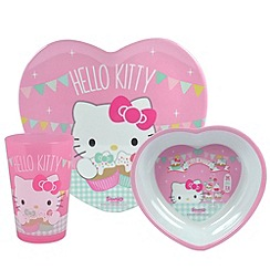 Hello Kitty - Tea Party Heart-Shaped 3-Piece Dinnerware Set