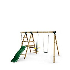 Plum - Meerkat Wooden Garden Swing Set and Climbing Frame