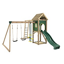 Plum - Kudu Wooden Climbing Frame Outdoor Play Centre with Double Swings